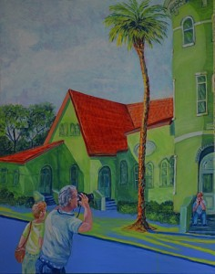 1st Baptist Church, St Augustine, Mom & Dad, Acrylic, Size 24″w x 30″ h, LEFT SIDE CORNER ART with Sight-Seers, $620.00, plus pack/ship/handle.