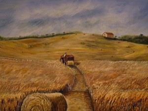 Harvest Time depicts a lost view of Citrus Hills as one moves along County Road 486 between Crystal River and Inverness, Fl. Acrylic, Size 30″w x 24″ h, $520.00, plus pack/ship/handle
