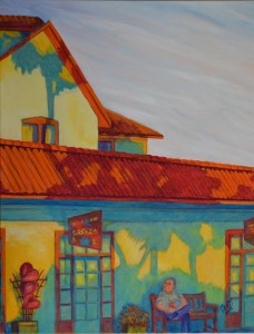 Mullet Beach Gallery, St. Augustine Dyptich, Acrylic, Dyptich Size 48″w x 30″ h, shown on flat surface to be hung in a corner, $1,000.00, plus pack/ship/handle.