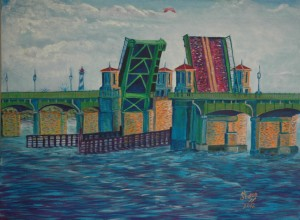 Lions Gate Bridge, Morning, St. Augustine, Acrylic, Size 30″w x 28″ h, $600.00, plus pack/ship/handle.