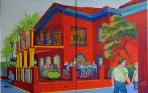 Meehans Pub, St Augustine Dyptich. Acrylic, Dyptich Size 48″w x 30″ h, shown on a flat surface–to be hung in a corner, $1,100.00,plus pack/ship/handle.