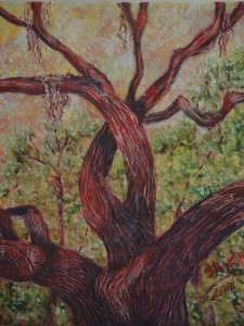 A Knot in A Live Oak, acrylic gel gives depth in depicting a tree on Antioch Lane, Lecanto, Fla, Size 16″w x 20″ h, $230.00, plua pack/ship/handle.