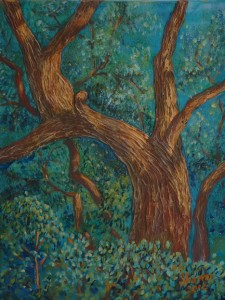 A Boot in A Live Oak, Acrylic gels give depth in depicting a tree on Castleland Dr, Lecanto, Fla , Size 16″w x 20″ h, $230.00, plus pack/ship/handle