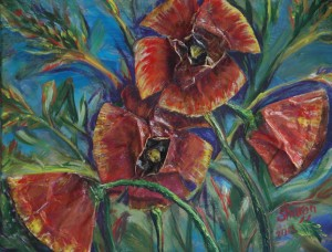 Poppies, A collage of acrylic skins and used coffee filters give depth to this subject, on Exhibit City Hall, Ocala, FL, Size 20″w x 16″ h, $230, plus pack/ship/handle
