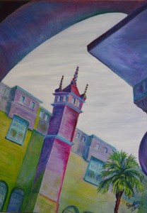 Portico View on Leaving Lightner Museum, St Augustine, Size 28″w x 32″ h, $650.00, plus pack/ship/handle