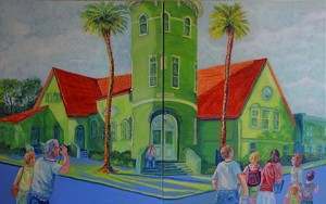 1st Baptist Church, St Augustine, Family Vacation, Acrylic, Size 24″w x 30″ h, RIGHT SIDE CORNER ART with Mom & Dad, $620.00, plus pack/ship/handle.