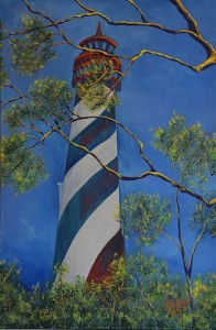 Land View of St Augustine Lighthouse, Size 24″w x 36″ h, $625.00, plus pack/ship/handle