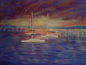 Sunrise Over St Augustine depicts sailboats anchored in the bay with Lion's Gate Bridge to the south. Acrylic, Size 30″w x 24″ h, $520.00; plus pack/ship/handle.