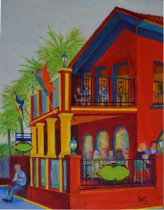Lunch Time At Meehans Pub, St Augustine Acrylic, Size 24″w x 30″ h, LEFT SIDE CORNER ART with Want Lunch, $520.00, plus pack/ship/handle.