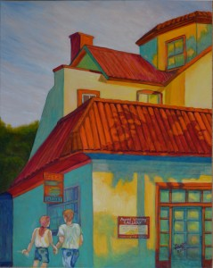 Tourists At Mullet Beach Gallery, St Augustine Acrylic, Size 24″w x 30″ h, LEFT SIDE CORNER ART with Ice Cream Break, $520.00, plus pack/ship/handle.