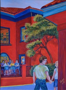 Want Lunch At Meehans, St Augustine. Acrylic, Size 24″w x 30″ h, RIGHT SIDE CORNER ART with Lunch Time, $620.00, plus pack/ship/handle.